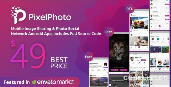 PixelPhoto Android v1.10 - Mobile Image Sharing & Photo Social Network Application